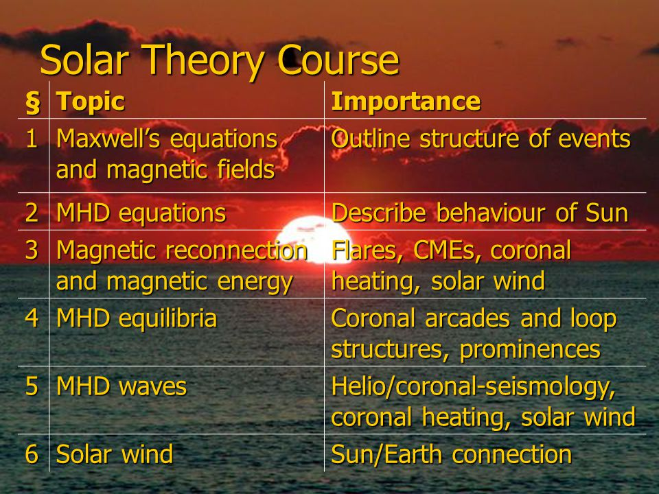 Solar Theory Course §TopicImportance 1 Maxwell's equations and magnetic fields Outline structure of events 2 MHD equations Describe behaviour of Sun 3 Magnetic reconnection and magnetic energy Flares, CMEs, coronal heating, solar wind 4 MHD equilibria Coronal arcades and loop structures, prominences 5 MHD waves Helio/coronal-seismology, coronal heating, solar wind 6 Solar wind Sun/Earth connection