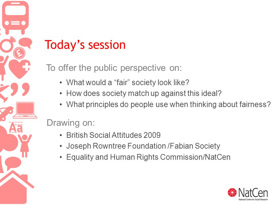 2 Today's session To offer the public perspective on: What would a fair society look like.