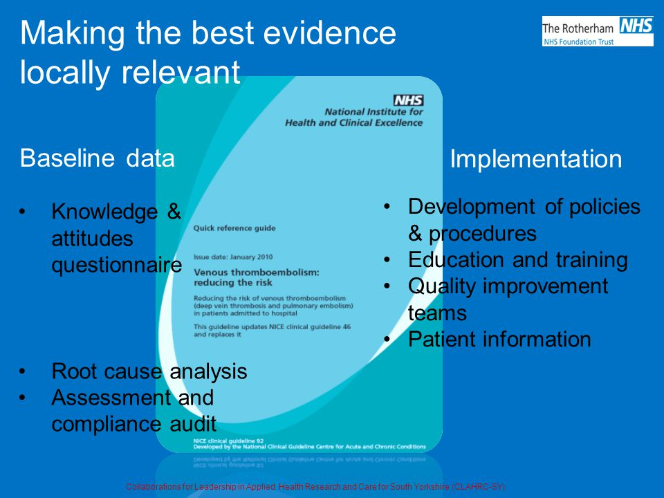 Baseline data Knowledge & attitudes questionnaire Root cause analysis Assessment and compliance audit Development of policies & procedures Education and training Quality improvement teams Patient information Implementation Making the best evidence locally relevant Collaborations for Leadership in Applied Health Research and Care for South Yorkshire (CLAHRC-SY)