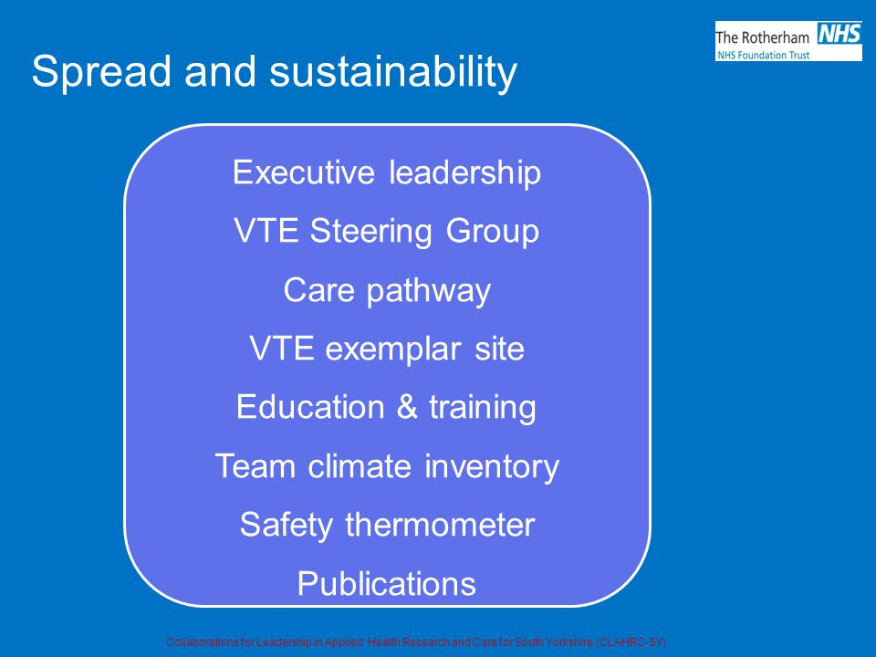 Spread and sustainability Executive leadership VTE Steering Group Care pathway VTE exemplar site Education & training Team climate inventory Safety thermometer Publications Collaborations for Leadership in Applied Health Research and Care for South Yorkshire (CLAHRC-SY)