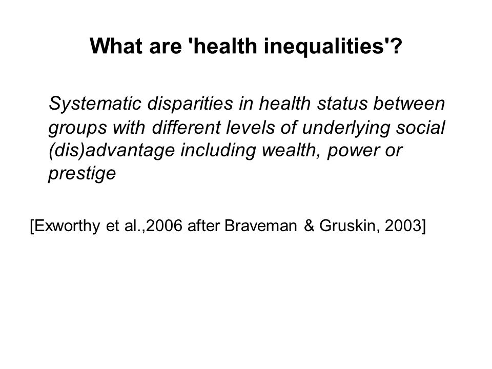 What are health inequalities .