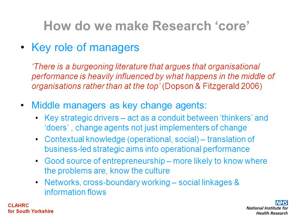 CLAHRC for South Yorkshire CLAHRC for South Yorkshire How do we make Research 'core' Key role of managers 'There is a burgeoning literature that argue
