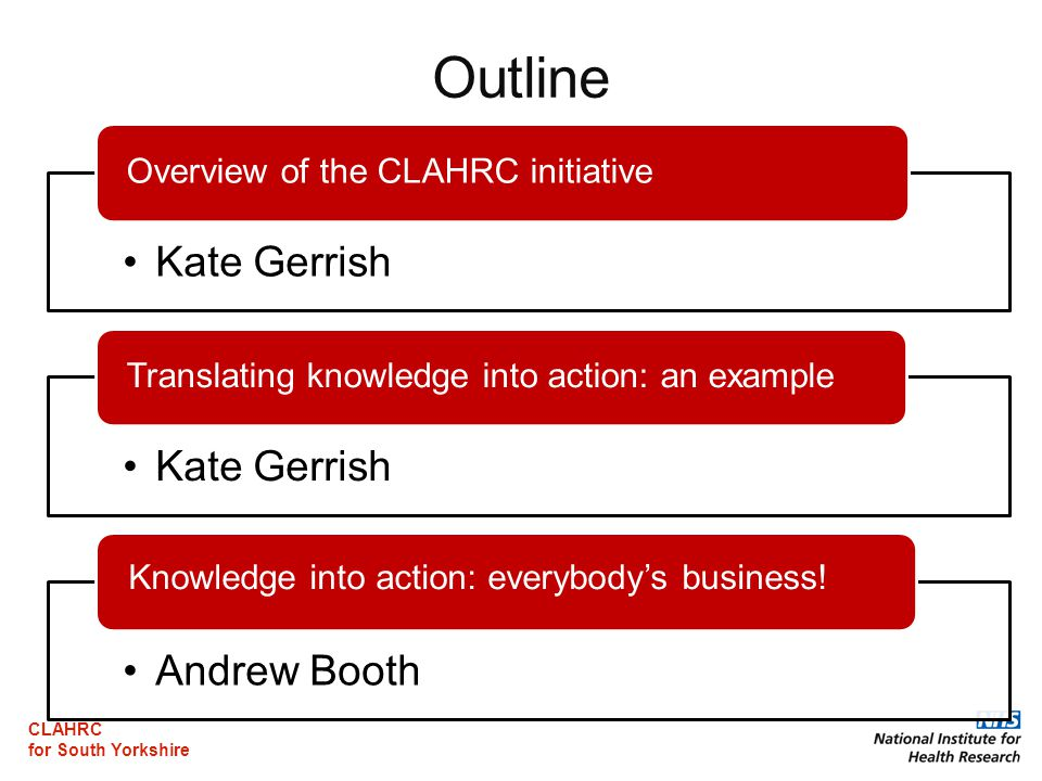 CLAHRC for South Yorkshire Outline Kate Gerrish Overview of the CLAHRC initiative Kate Gerrish Translating knowledge into action: an example Andrew Booth Knowledge into action: everybody's business!