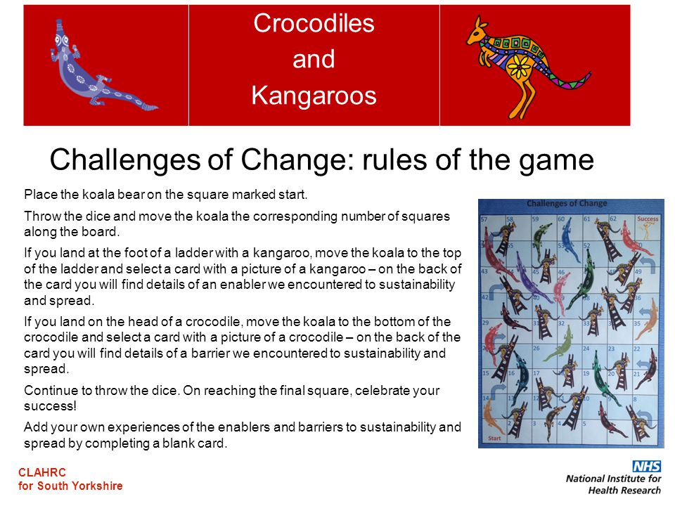CLAHRC for South Yorkshire Crocodiles and Kangaroos Place the koala bear on the square marked start.
