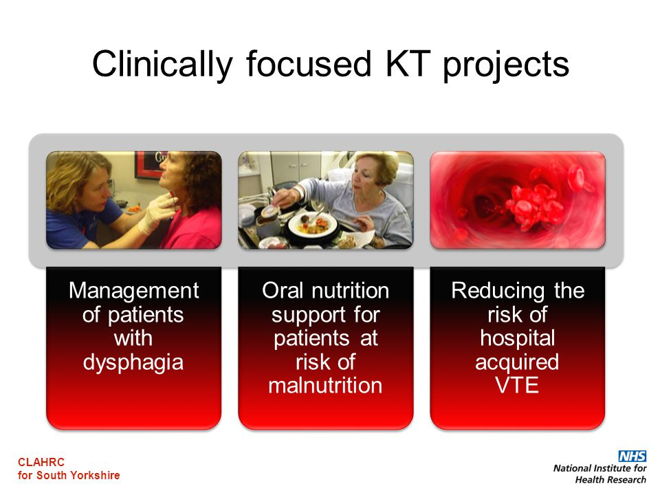 CLAHRC for South Yorkshire Clinically focused KT projects Management of patients with dysphagia Oral nutrition support for patients at risk of malnutrition Reducing the risk of hospital acquired VTE