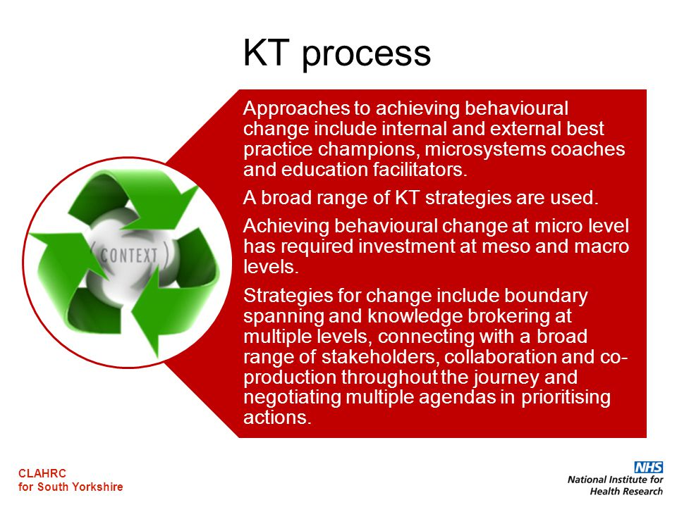 CLAHRC for South Yorkshire KT process Approaches to achieving behavioural change include internal and external best practice champions, microsystems coaches and education facilitators.