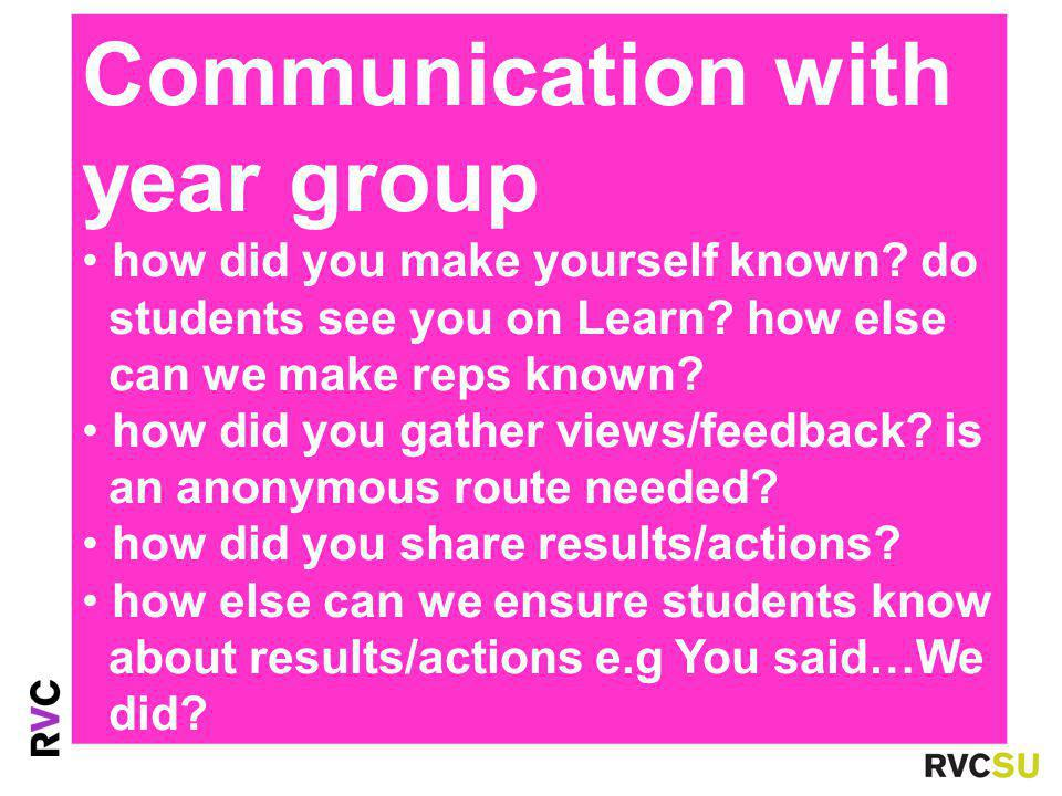 Communication with year group how did you make yourself known.