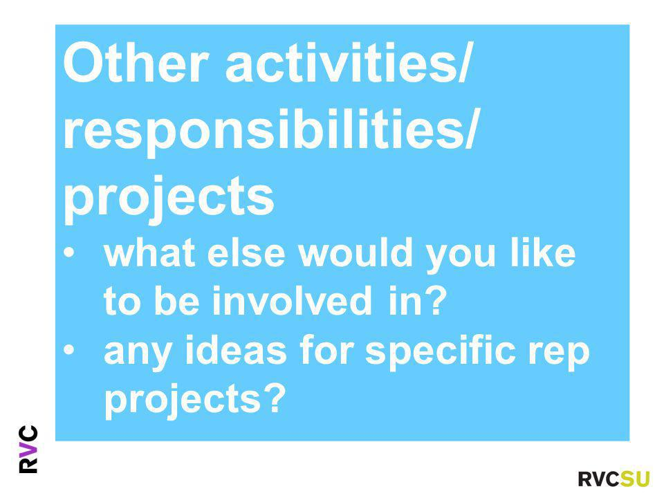 Other activities/ responsibilities/ projects what else would you like to be involved in.