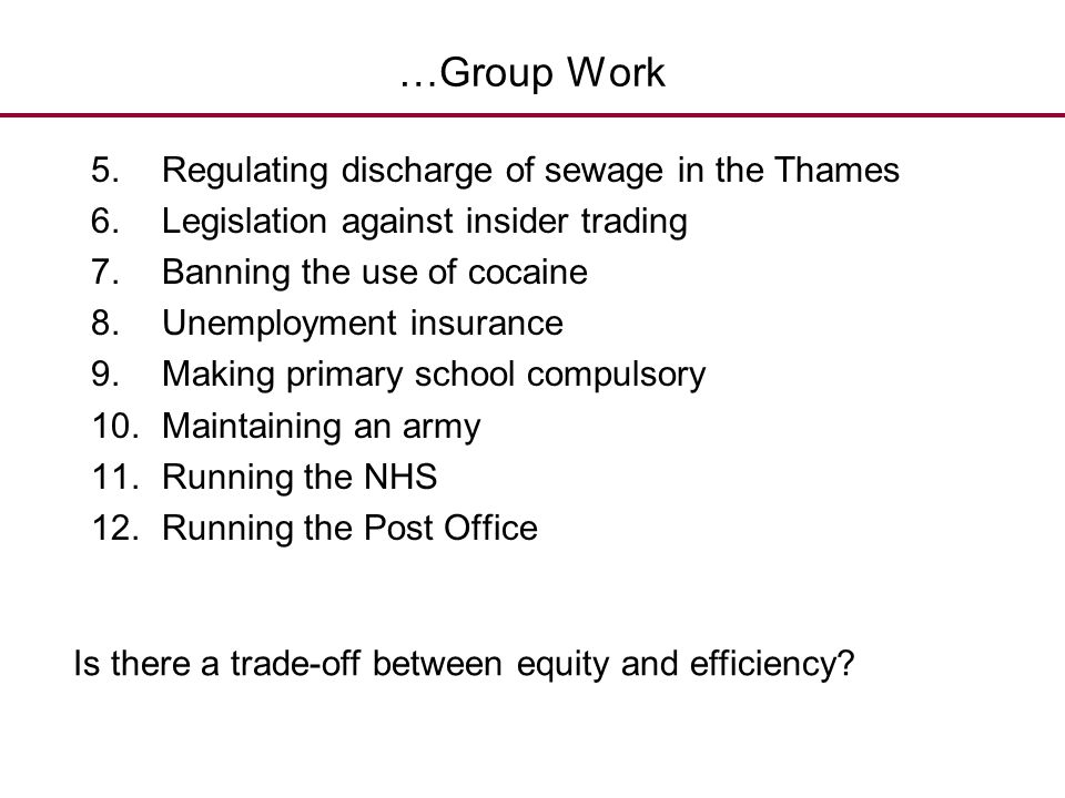 …Group Work 5.Regulating discharge of sewage in the Thames 6.Legislation against insider trading 7.Banning the use of cocaine 8.Unemployment insurance