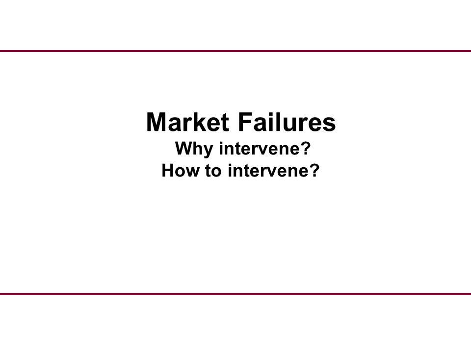 Market Failures Why intervene? How to intervene?