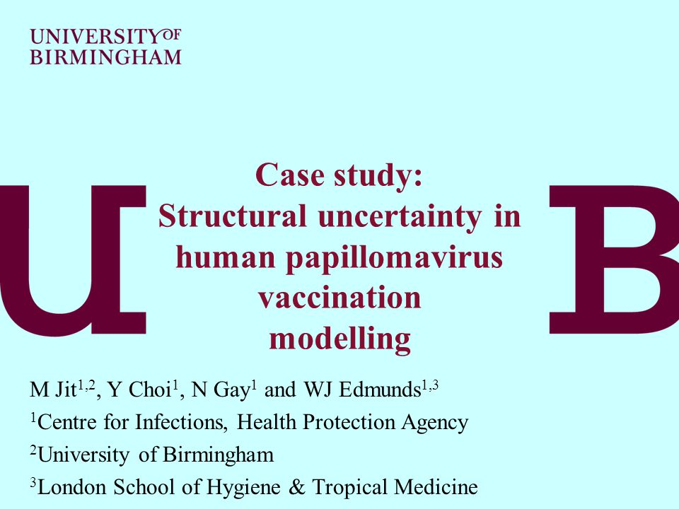 Mark Jit Modelling and Economics Unit Health Protection Agency, London Case study: Structural uncertainty in human papillomavirus vaccination modelling M Jit 1,2, Y Choi 1, N Gay 1 and WJ Edmunds 1,3 1 Centre for Infections, Health Protection Agency 2 University of Birmingham 3 London School of Hygiene & Tropical Medicine