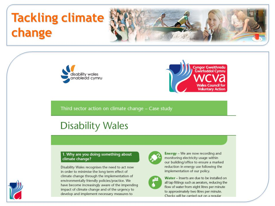 Helping communities Communities first eco pack Communities first training Environment Wales - support - climate change first steps grants - 50 Age of Stupid Screenings - Supporting Sustainable Living Grants