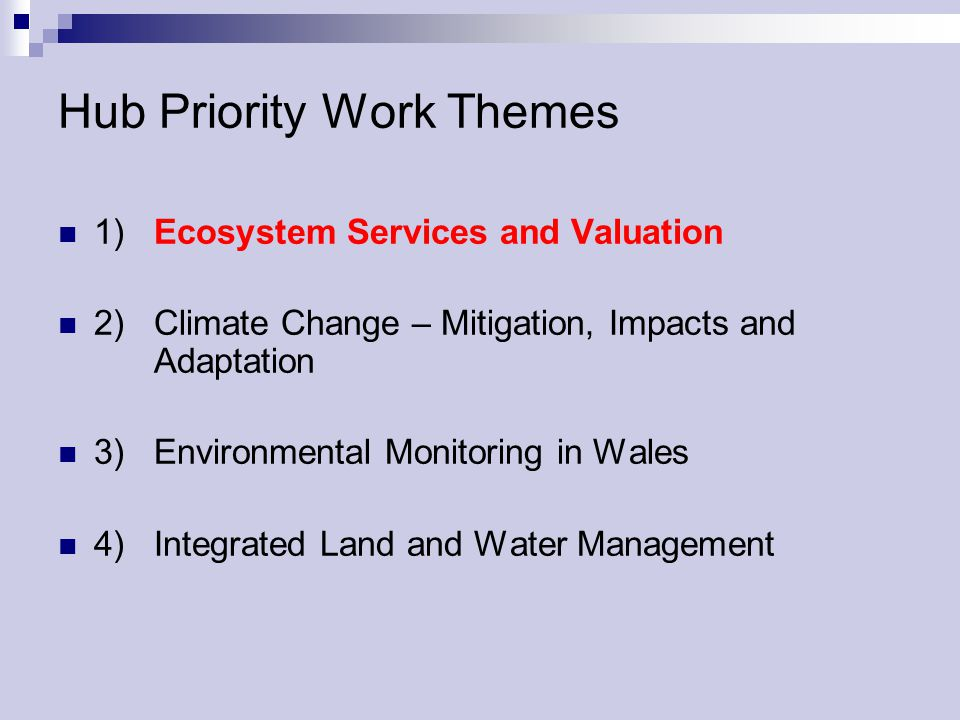 Hub Priority Work Themes 1) Ecosystem Services and Valuation 2) Climate Change – Mitigation, Impacts and Adaptation 3) Environmental Monitoring in Wal
