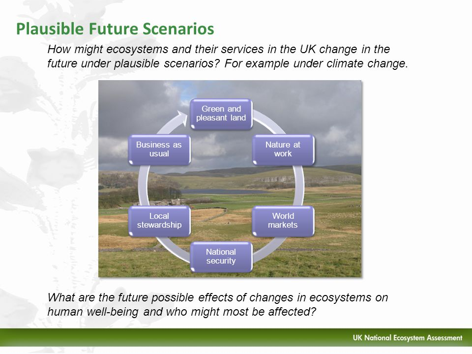 Plausible Future Scenarios How might ecosystems and their services in the UK change in the future under plausible scenarios? For example under climate