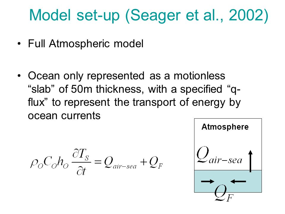 """Model set-up (Seager et al., 2002) Full Atmospheric model Ocean only represented as a motionless """"slab"""" of 50m thickness, with a specified """"q- flux"""" t"""