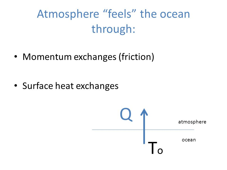 "Atmosphere ""feels"" the ocean through: Momentum exchanges (friction) Surface heat exchanges Q atmosphere ocean ToTo"