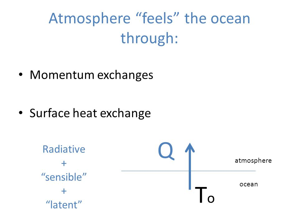 "Atmosphere ""feels"" the ocean through: Momentum exchanges Surface heat exchange Q atmosphere ocean ToTo Radiative + ""sensible"" + ""latent"""