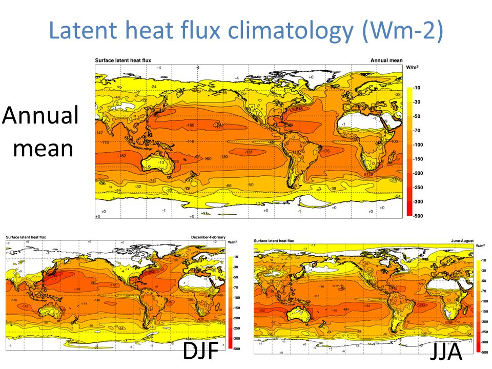 Latent heat flux climatology (Wm-2) Annual mean DJF JJA