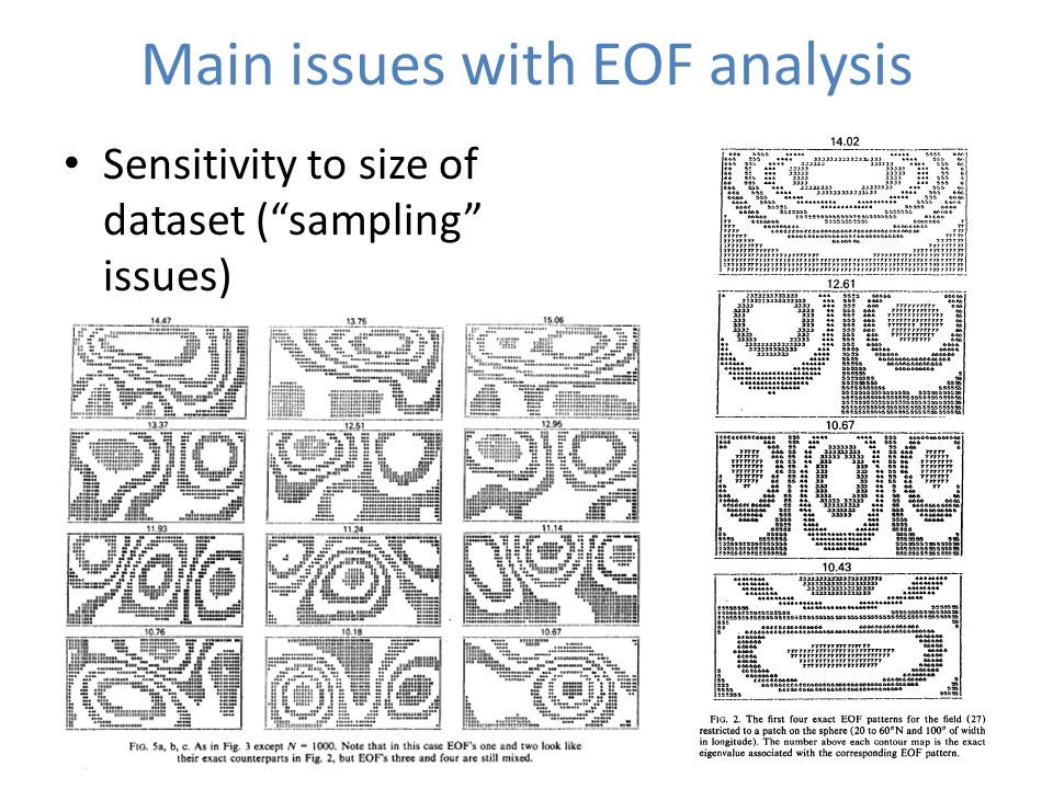 Main issues with EOF analysis Sensitivity to size of dataset ( sampling issues)