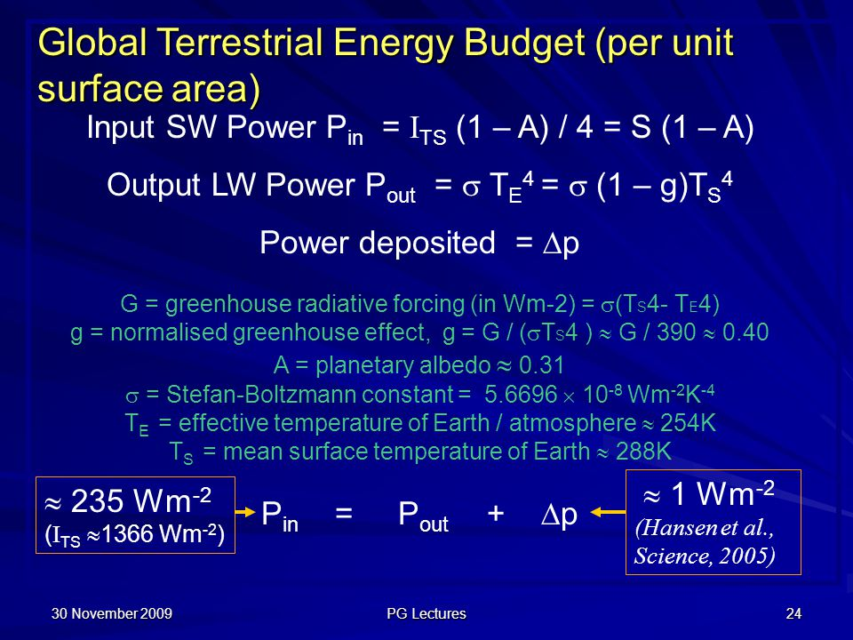 30 November 2009 PG Lectures 24 Global Terrestrial Energy Budget (per unit surface area) Input SW Power P in = I TS (1 – A) / 4 = S (1 – A) Output LW