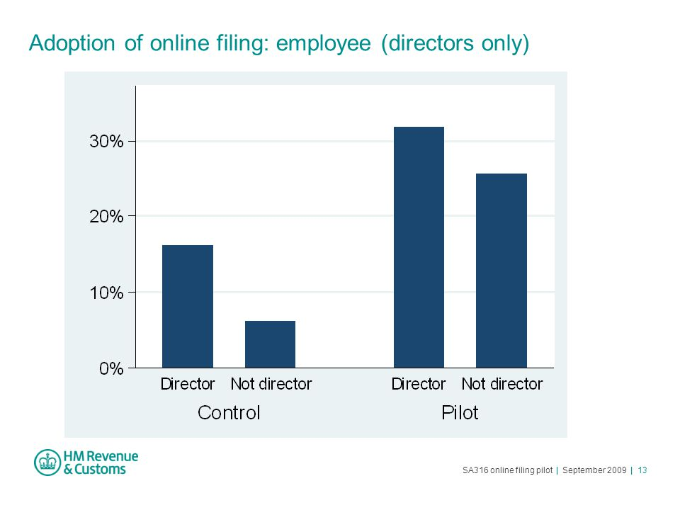 SA316 online filing pilot | September 2009 | 13 Adoption of online filing: employee (directors only)