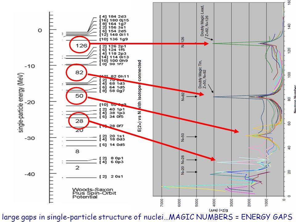 large gaps in single-particle structure of nuclei…MAGIC NUMBERS = ENERGY GAPS