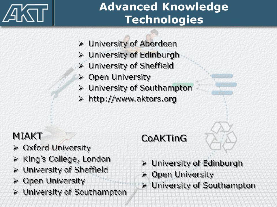Advanced Knowledge Technologies  University of Aberdeen  University of Edinburgh  University of Sheffield  Open University  University of Southam