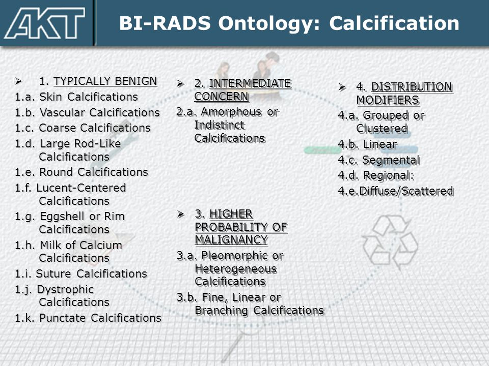 BI-RADS Ontology: Calcification  1. TYPICALLY BENIGN 1.a. Skin Calcifications 1.b. Vascular Calcifications 1.c. Coarse Calcifications 1.d. Large Rod-
