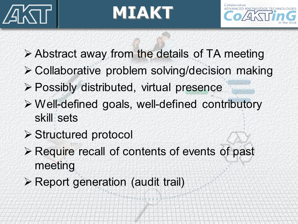  Abstract away from the details of TA meeting  Collaborative problem solving/decision making  Possibly distributed, virtual presence  Well-defined