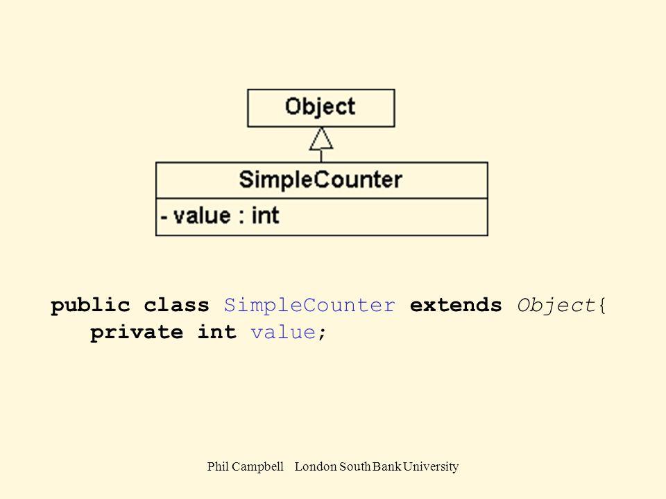 Phil Campbell London South Bank University public void setWidth ( double arg){ width = arg; } // End getWidth() public double area(){ return height * width; } // End area() public double perimeter(){ return 2 * ( height + width); } public String toString(){ return ( + height + , + width + ) area= + area() + perimeter= + perimeter(); } // End toString() } // End class Rectangle