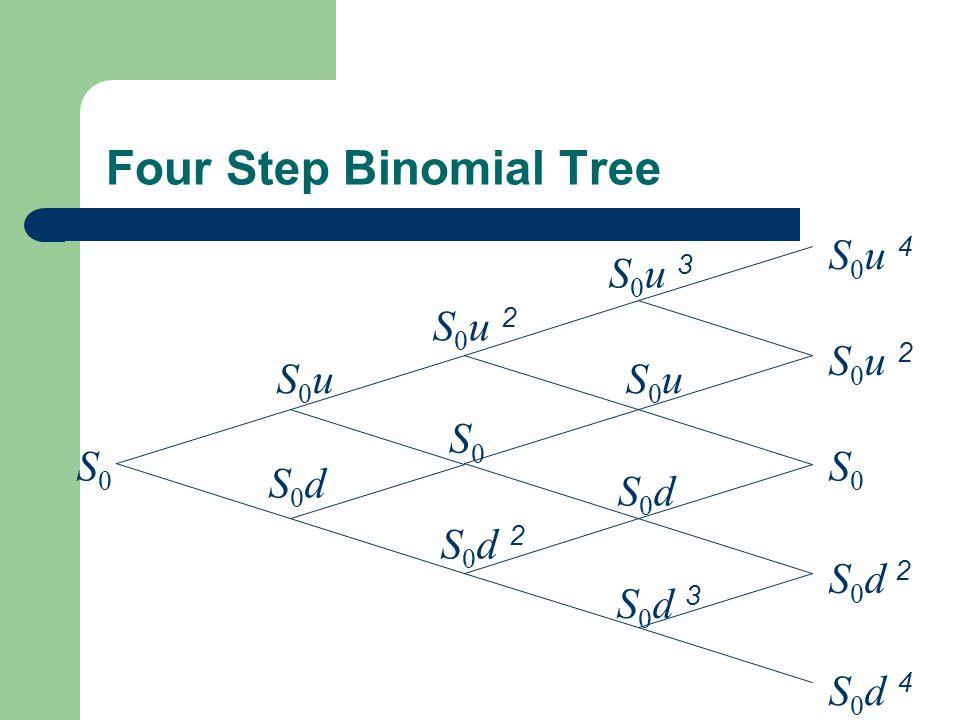 Four Step Binomial Tree S0S0 S0uS0u S0dS0d S0S0 S0S0 S0u 2S0u 2 S0d 2S0d 2 S0u 2S0u 2 S0u 3S0u 3 S0u 4S0u 4 S 0 d 2 S0uS0u S0dS0d S0d 4S0d 4 S0d 3S0d 3