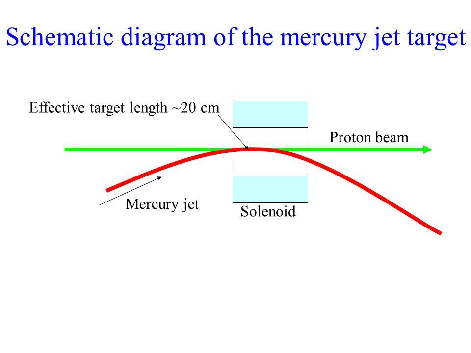 Proton beam Mercury jet Solenoid Effective target length ~20 cm Schematic diagram of the mercury jet target