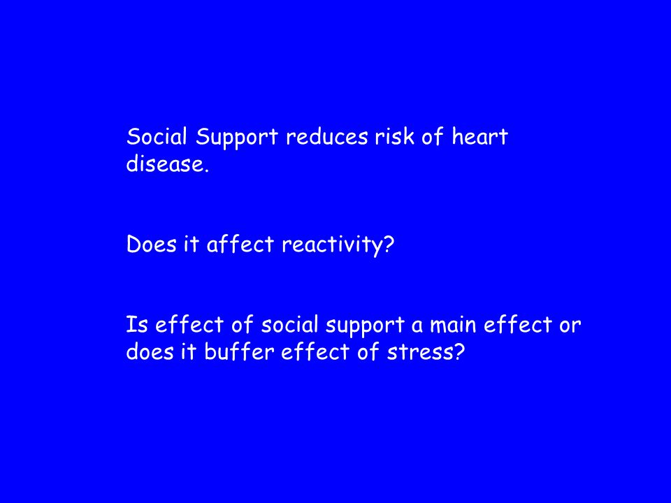 Social Support reduces risk of heart disease. Does it affect reactivity.