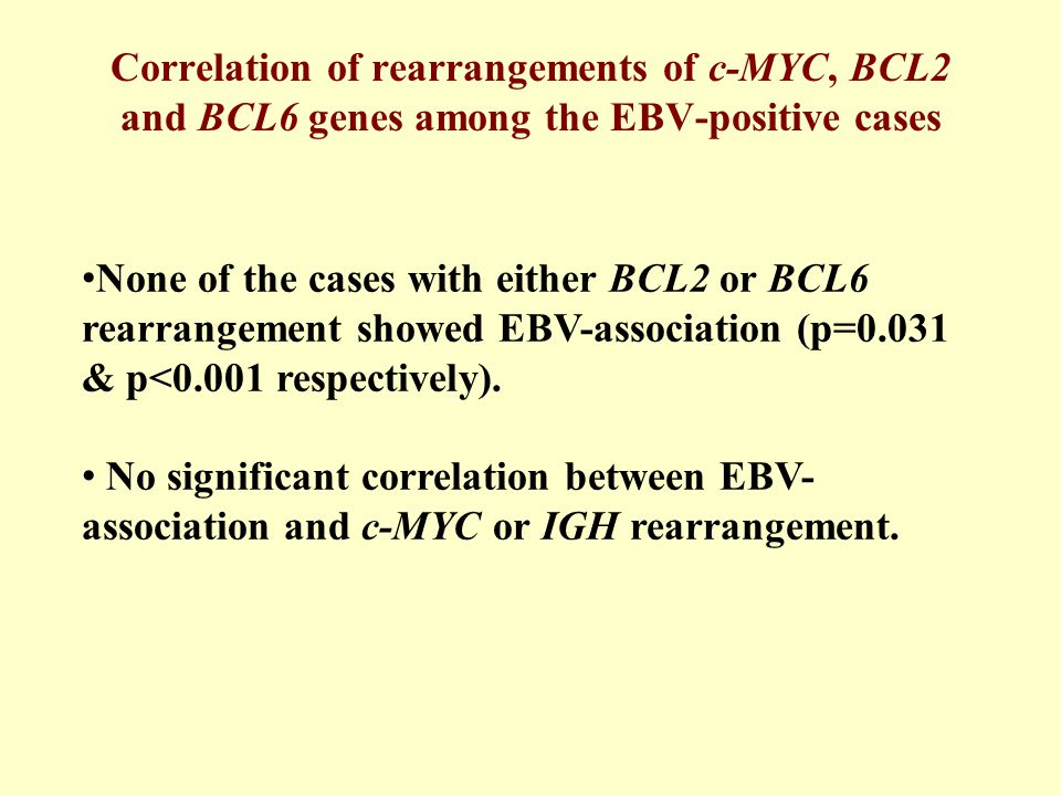 None of the cases with either BCL2 or BCL6 rearrangement showed EBV-association (p=0.031 & p<0.001 respectively).