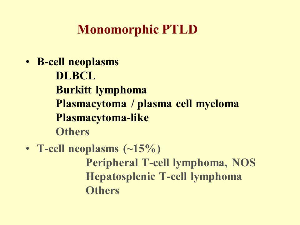 Among Burkitt lymphoma (BL), 2/2 PT-BL and 12/13 (92%) HIV-BL had c-MYC rearrangement.