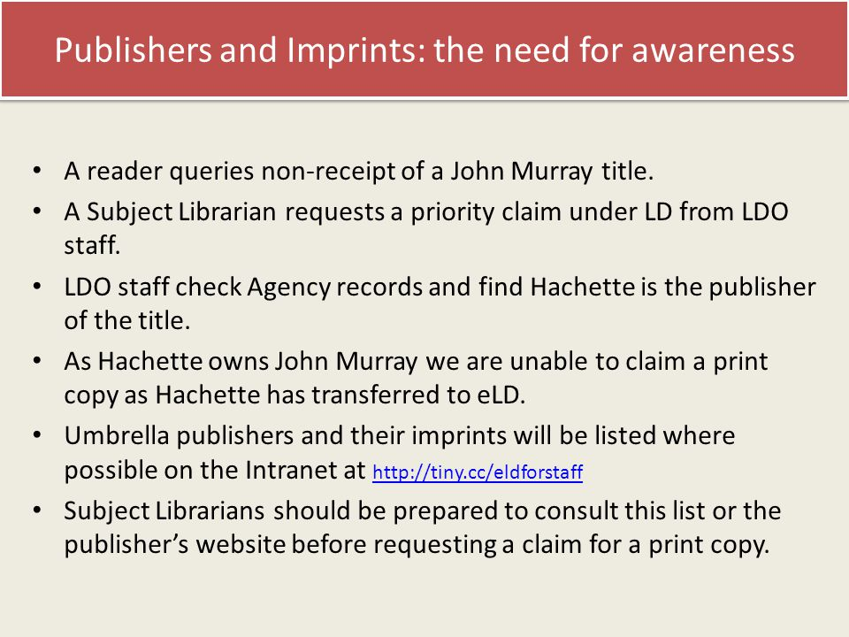 Publishers and Imprints: the need for awareness A reader queries non-receipt of a John Murray title.
