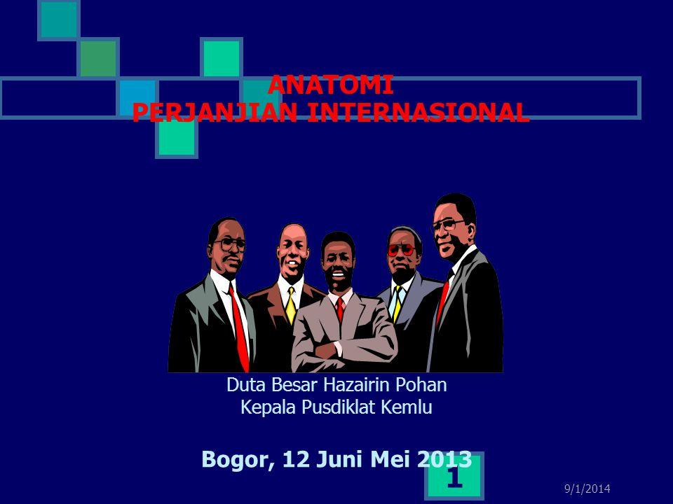 9/1/2014 1 ANATOMI PERJANJIAN INTERNASIONAL Duta Besar Hazairin Pohan Kepala Pusdiklat Kemlu Bogor, 12 Juni Mei 2013