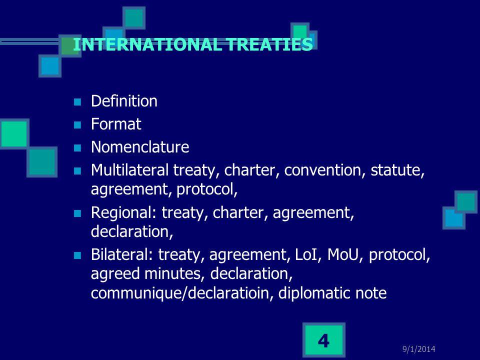 INTERNATIONAL TREATIES Definition Format Nomenclature Multilateral treaty, charter, convention, statute, agreement, protocol, Regional: treaty, charte