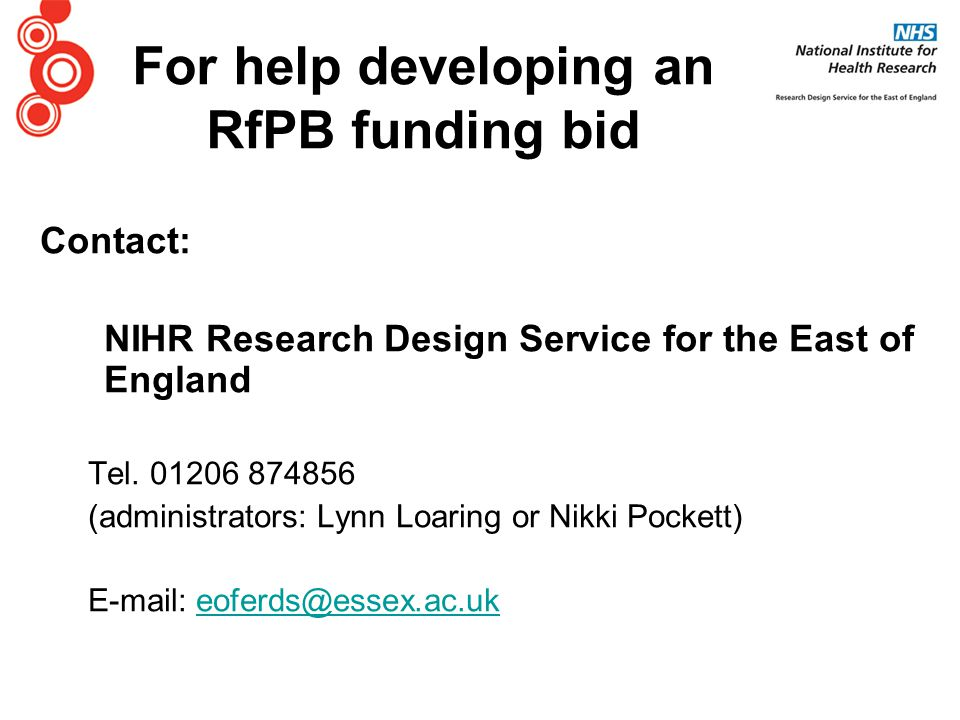 Contact: NIHR Research Design Service for the East of England Tel.