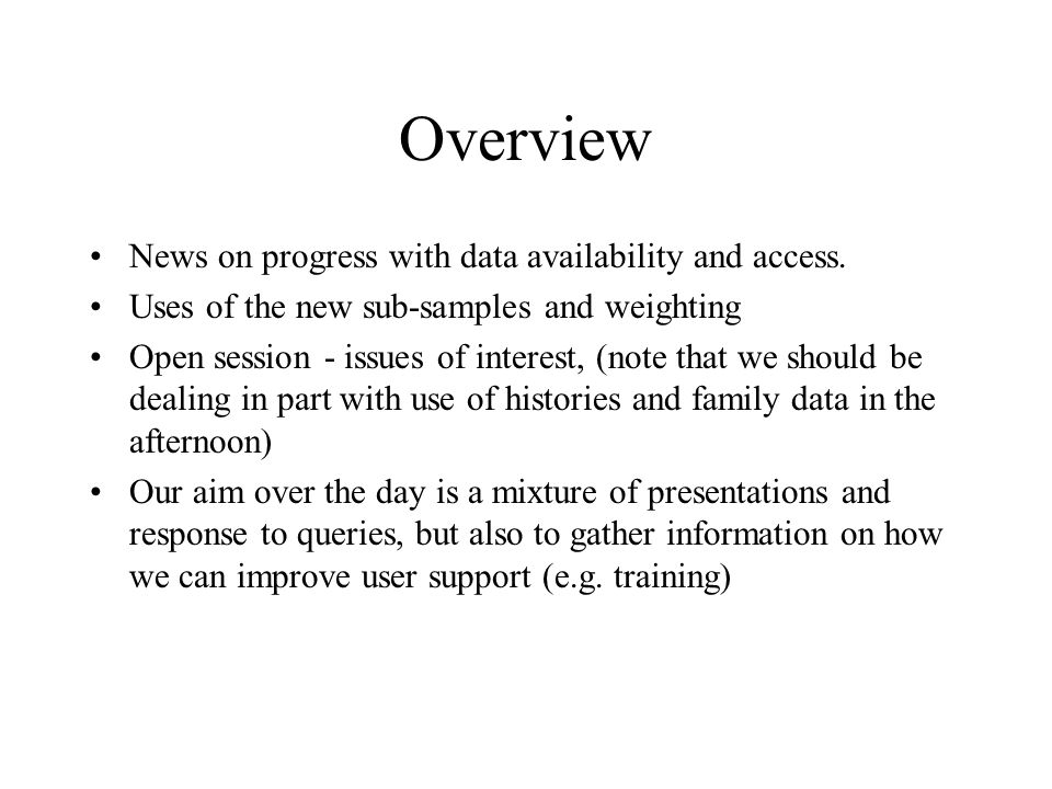 Overview News on progress with data availability and access.