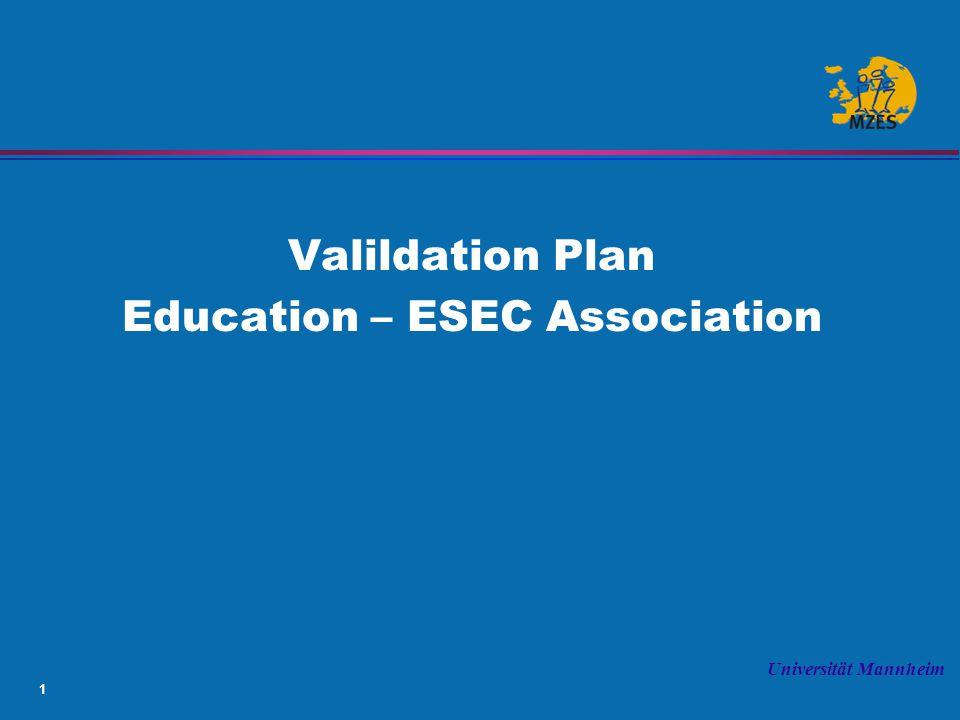 1 Universität Mannheim Valildation Plan Education – ESEC Association