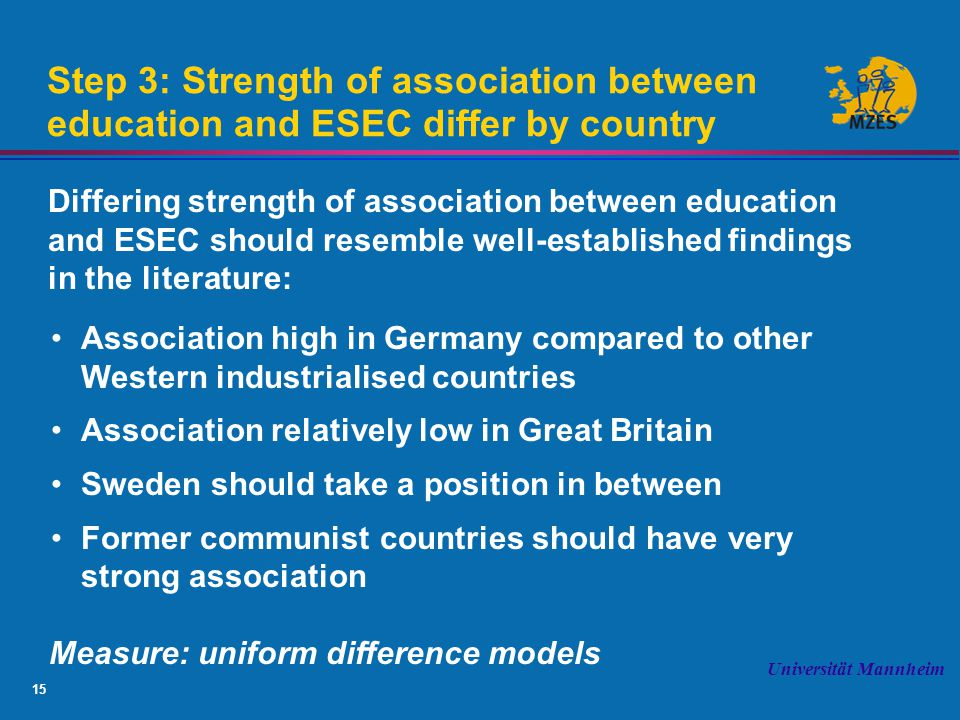 15 Universität Mannheim Step 3: Strength of association between education and ESEC differ by country Differing strength of association between education and ESEC should resemble well-established findings in the literature: Association high in Germany compared to other Western industrialised countries Association relatively low in Great Britain Sweden should take a position in between Former communist countries should have very strong association Measure: uniform difference models