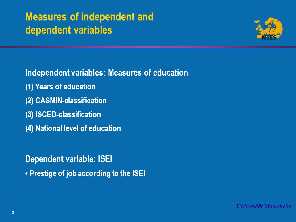 3 Universität Mannheim Measures of independent and dependent variables Independent variables: Measures of education (1) Years of education (2) CASMIN-classification (3) ISCED-classification (4) National level of education Dependent variable: ISEI Prestige of job according to the ISEI