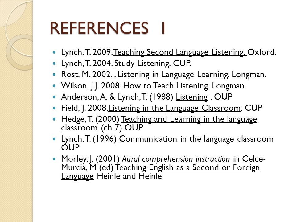 REFERENCES 1 Lynch, T. 2009. Teaching Second Language Listening.