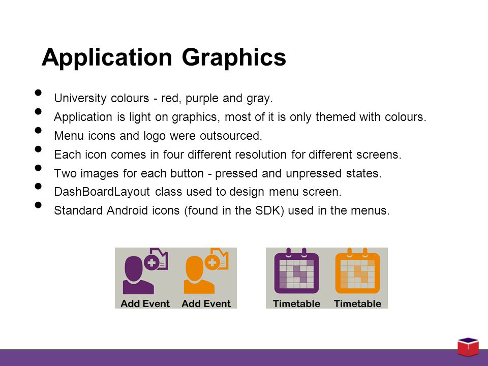 Application Graphics University colours - red, purple and gray.