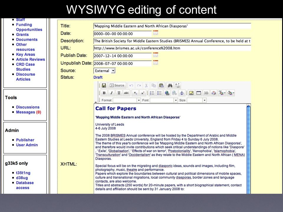 WYSIWYG editing of content