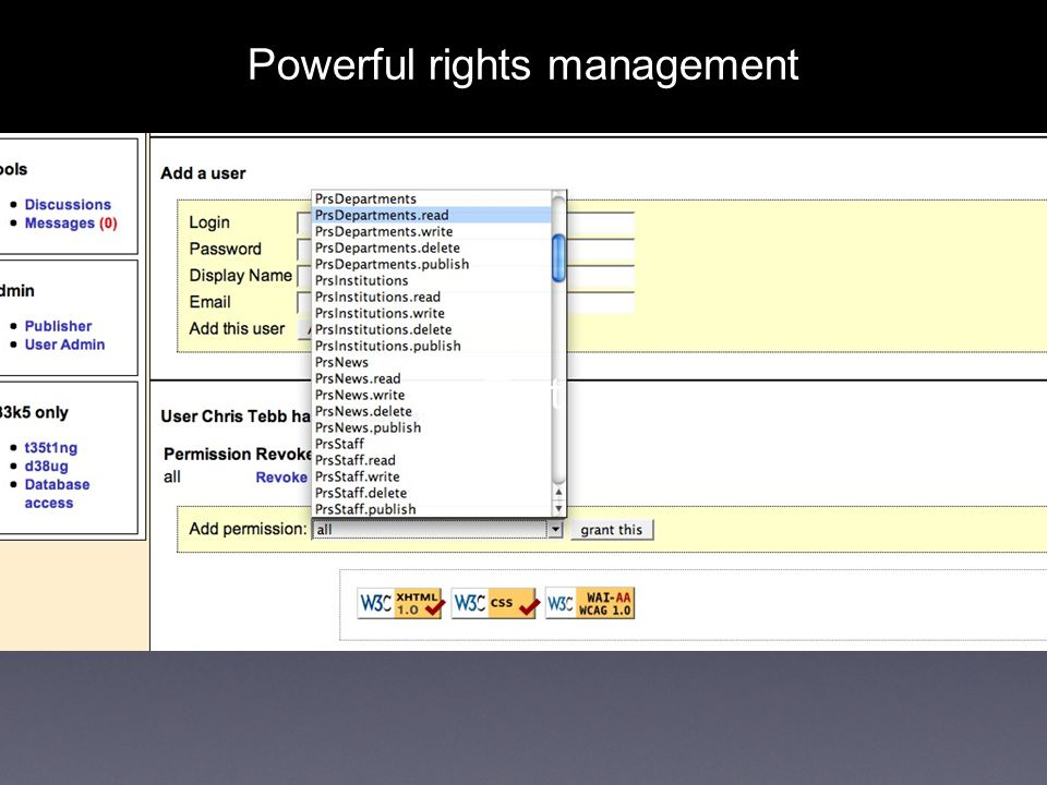 Text Powerful rights management