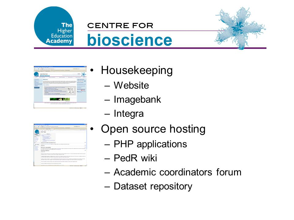 Centre for Bioscience Housekeeping –Website –Imagebank –Integra Open source hosting –PHP applications –PedR wiki –Academic coordinators forum –Dataset repository