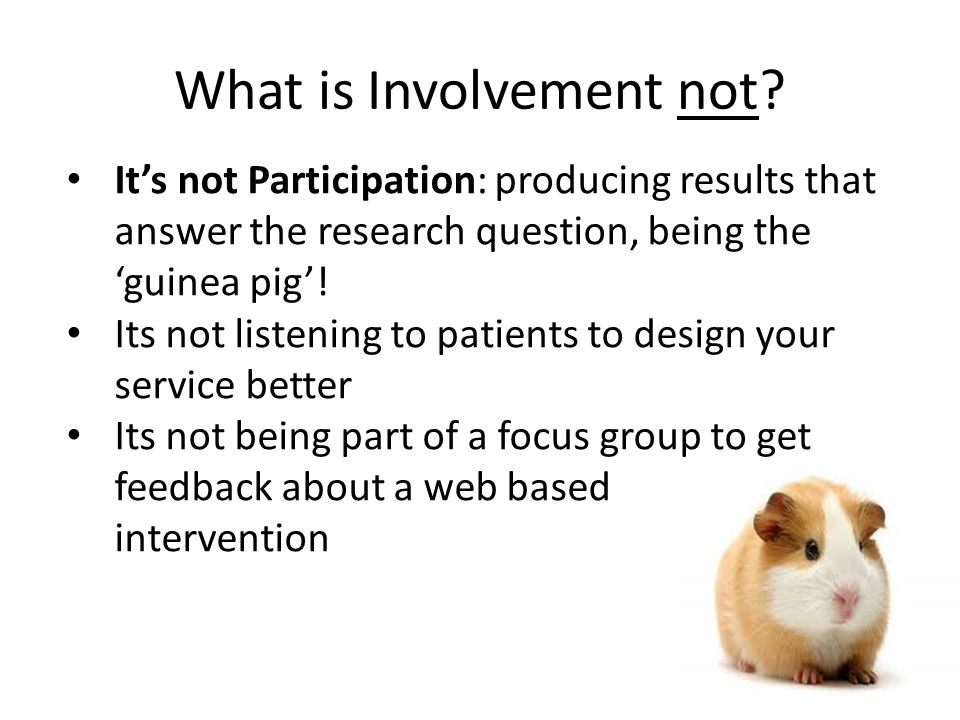 What is Involvement not? It's not Participation: producing results that answer the research question, being the 'guinea pig'! Its not listening to pat