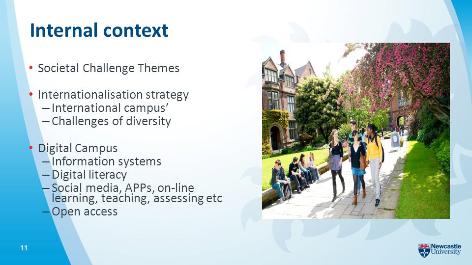 Internal context Societal Challenge Themes Internationalisation strategy – International campus' – Challenges of diversity Digital Campus – Information systems – Digital literacy – Social media, APPs, on-line learning, teaching, assessing etc – Open access 11